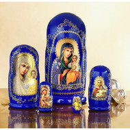 Icon Nesting Dolls, 5pc Mother of God with Christ Child, large