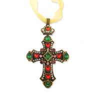 Ornament, Jeweled Cross Antiqued