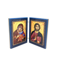 Diptych: Theotokos with Christ Child and Christ Blessing, small icons, interior panels