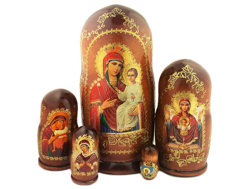 Icon Nesting Dolls, 5pc Mother of God with Christ Child, large, brown wood-tone