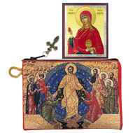 Tapestry pouch, icon of the Resurrection with Mary Magdalene mini icon