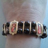 Icon bracelet, 5 icons, gold-plated. Featuring Christ and Theotokos icons.