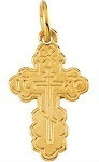 St. Olga Cross, 14k yellow gold, tiny charm size