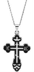 St. Xenia Cross, sterling silver with black inlay, chain included