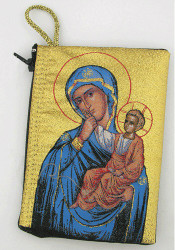 Tapestry pouch, icon of the Virgin of Tenderness. Great for keepsakes or a small travel pouch.