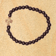 Prayer Bracelet with small gold-tone cross and black hematite beads