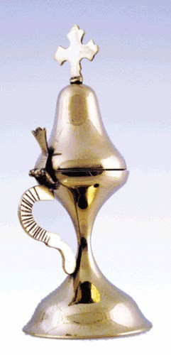 """Censer, 7-1/2"""" to 8"""" tall, smooth brass-tone finish. For church or home use."""