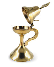 "Censer, 7-1/2"" to 8"" tall, smooth brass-tone finish. For church or home use."