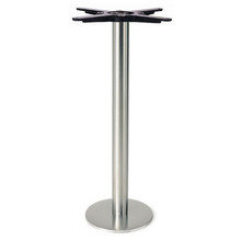 """Round Table Base, Brushed Stainless Steel, 28-3/8"""" height, 8"""" bolt down round base, 3""""diameter steel column - replacementtablelegs.com"""