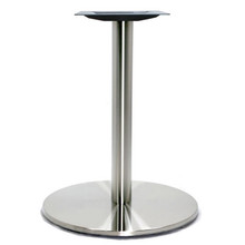 """Round Table Base, Brushed Stainless Steel, 28-3/8"""" height, 21"""" round base, 3""""diameter steel column - replacementtablelegs.com"""