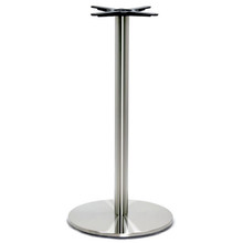 "Round Table Base, Brushed Stainless Steel, 42-1/2"" height, 21"" round base, 3""diameter steel column - replacementtablelegs.com"