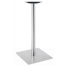 "Square, Brushed Stainless Steel Table Base, 42-1/2"" height, 22"" square base, 3""diameter steel column - replacementtablelegs.com"