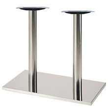 """Square, Brushed Stainless Steel Table Base, 28-3/8"""" height, 16""""x28"""" square base, two 3""""diameter steel columns - replacementtablelegs.com"""