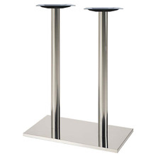 """Square, Brushed Stainless Steel Table Base, 42-1/2"""" height, 16""""x28"""" square base, two 3""""diameter steel columns - replacementtablelegs.com"""