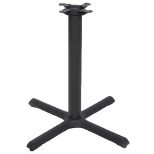 "CAST IRON TABLE BASE, X Style 30""x30"", 28"" height, 3"" diameter steel column - replacementtablelegs.com"