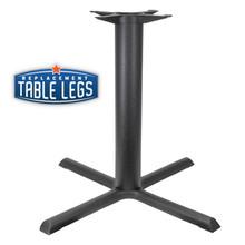 "CAST IRON TABLE BASE, X Style 36""x36"", 28-1/2"" height, 4"" diameter steel column - replacementtablelegs.com"
