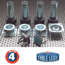 "SET OF 4, 2 piece  Metal levelers, 3-3/4""-4-3/4"", with 1"" ABS adjustable foot, 4 metal sockets, and 2 adhesive toe kick clips"