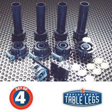 """4, 4""""-6-1/2"""" Plastic levelers w/ 2-1/2"""" adjustable foot, 4 plastic sockets, 2 groove mount toe kick clips, 4 white cover caps, 4 almond cover caps"""