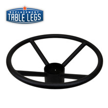 """Table Base Foot Ring for 4"""" Columns, Cast Iron, 19""""x 8"""", Black Matte"""