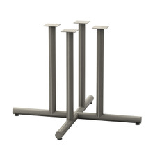 "Tubular 4 Post X-style Table Base, 27-3/4"" height, 38""x38"" base spread, four 2"" diameter columns and adjustable levelers"