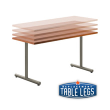 """Adjustable T-style Table Base, 24-3/4"""" to 32-3/4"""" Height Adjustment, Welded Construction, 2-3/8"""" Diameter Column with Adjustable Levelers, SET OF 2. Tabletop not included. - Replacementtablelegs.com"""