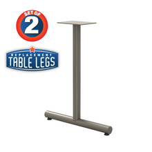 """Tubular T-style Table Base, 27-3/4"""" Height, 22"""" Base Spread, 2"""" diameter Columns with adjustable Levelers. - Replacementtablelegs.com"""