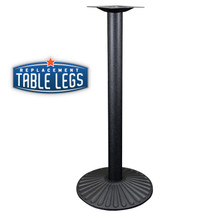 "Cast Iron Sun Table Base, 22"" Round Base Spread, 41"" Height, 3"" diameter column with Cast Iron Base and 9"" top plate"