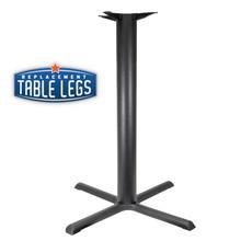 "CAST IRON TABLE BASE, X Style 33""x33"", 40-1/4"" height, 3"" diameter steel column - replacementtablelegs.com"