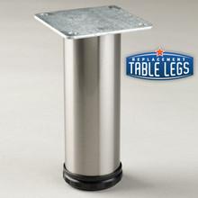 Brushed Steel Como Leg, 6'' Cabinet Leg,  2'' diameter, 1-1/8'' adjustable foot - replacementtablelegs.com