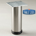 Brushed Steel Como Leg, 8'' Cabinet Leg,  2'' diameter, 1-1/8'' adjustable foot - replacementtablelegs.com