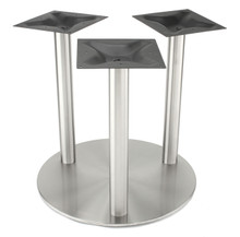 """3-Column, 3"""" diameter, 1.5mm wall thickness, stainless steel 30"""" round disk style pedestal table base, counter height RFL750-C3 shown without top"""