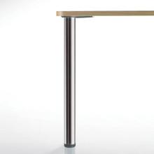 Hamburg Table Leg, Brushed Steel, 27-3/4'', 2-3/8'' diameter leg 1-1/8'' adjustable foot - replacementtablelegs.com
