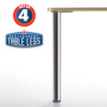 Hamburg Table Leg, Brushed Steel, 27-3/4'', 2-3/8'' diameter leg 1-1/8'' adjustable foot - replacementtablelegs.com