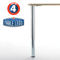 Prisma, Chrome, 34-1/4'' height, 2-3/8'' diameter leg, 1-1/8'' adjustable foot - replacementtablelegs.com