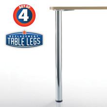 Prisma, Chrome, 34-1/4'' height, 2-3/8'' diameter leg, 1-1/8'' adjustable foot - replacementtablelegs.com