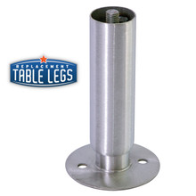 Heavy Duty Cabinet Leg, Food Grade Stainless Steel, 6'' Cabinet Leg with Flange Foot,  1-5/8'' diameter, 1-7/16'' adjustable foot - replacementtablelegs.com