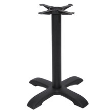 "CAST IRON TABLE BASE, 4-Leg Arc 24"" x 24"", Matte Black, 29"" height, 3"" diameter steel column with cast iron base and spider attachment - replacementtablelegs.com"
