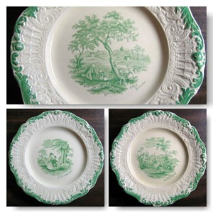 Antique Green Scrolled Toile Transferware Plates www.decorativedishes.net