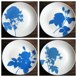 Blue Roses on White Silhouette Plates www.decorativedishes.net