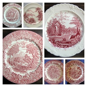 Pink Toile Transferware Plates www.decorativedishes.net