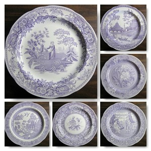Decorative Plates in Purple Toile Transferware www.decorativedishes.net