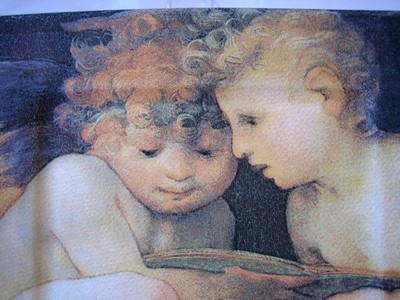 Cherub Angel Babies Square Italy Plate Tile Center www.DecorativeDishes.net