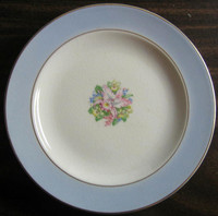 Vintage Blue Orchid Decal Dessert 22K USA Hawaiiana Plate