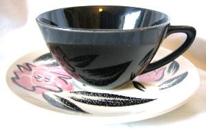 Rockabilly 50s Retro Black Pink Rose Vtg Cup Saucer