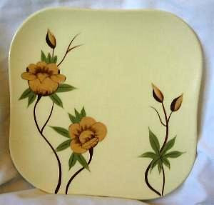 Shabby Rockabilly Vintage 50s Yellow Rose CA Square Plate