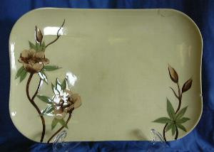 Decorative Platter - Rockabilly 50s Yellow Rose California Hand Painted
