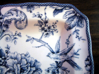 3-D Gray Blue Rose Bird Branch Blossom Square Deep Plate M