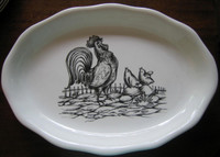 Decorative Platter - Rooster Baby Chicks Black White Huge
