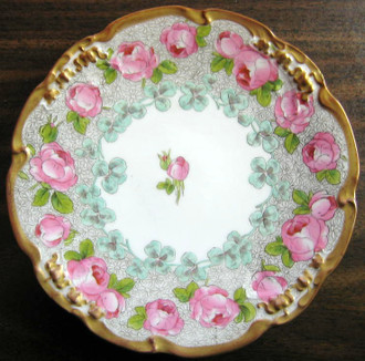 Antique Hand Painted Pink Roses Gold Edge French Limoges