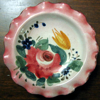 Sweet Miniature 3.5 inch Italy Handpainted Rose Fluted Edge Dish